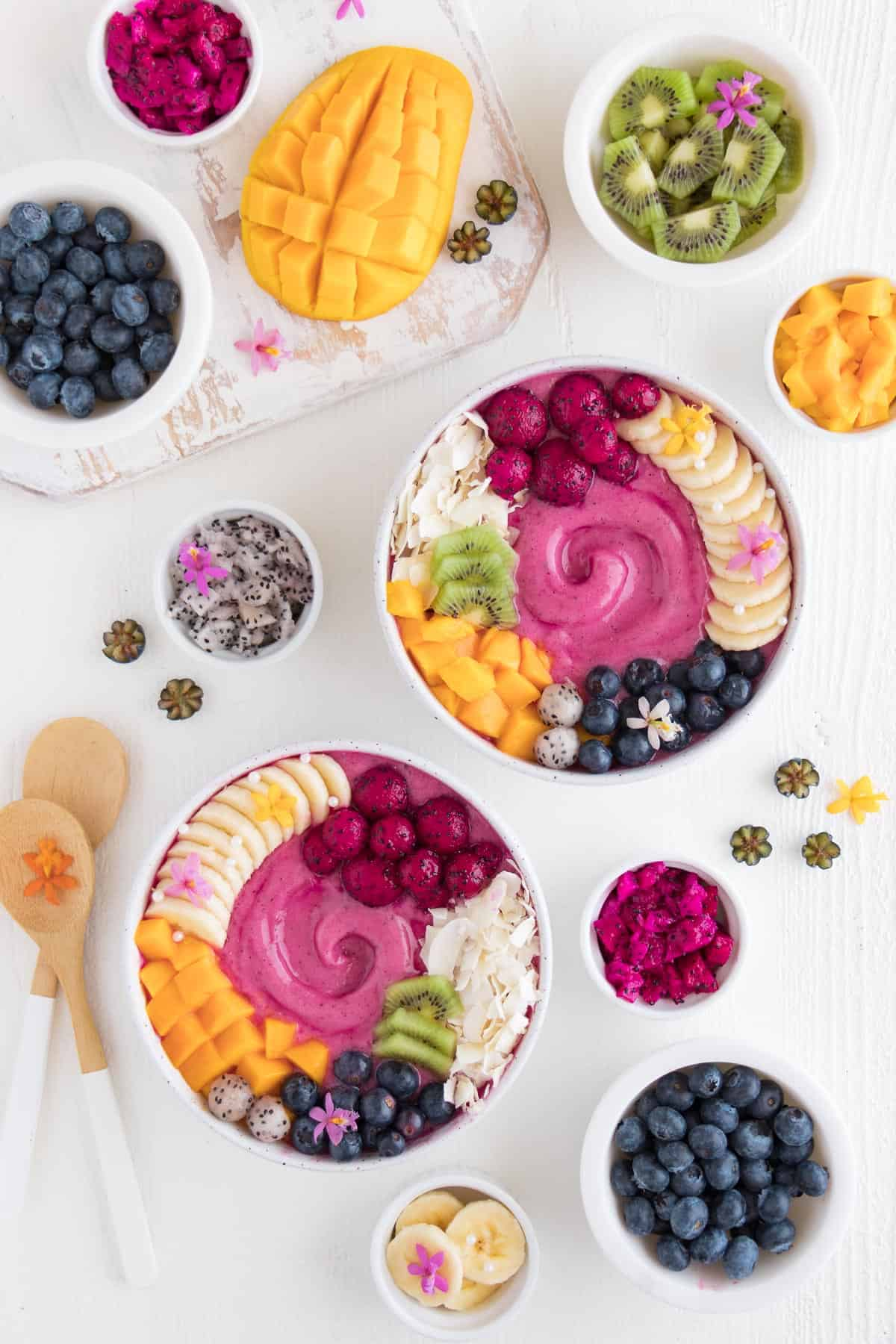 fruit platter with smoothie bowls
