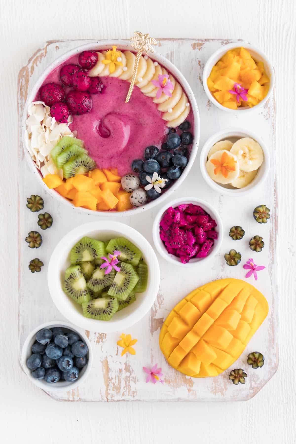 mango, kiwi, blueberries, and dragon fruit