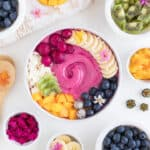 pitaya smoothie bowl with mango, blueberries, and banana